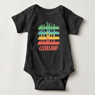 Retro Cleveland OH Skyline Pop Art Baby Bodysuit