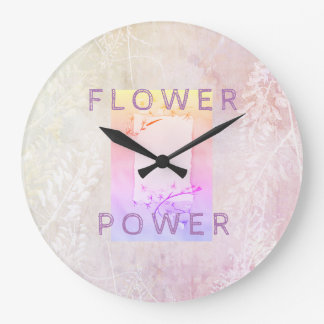 Retro clock with floral pink background