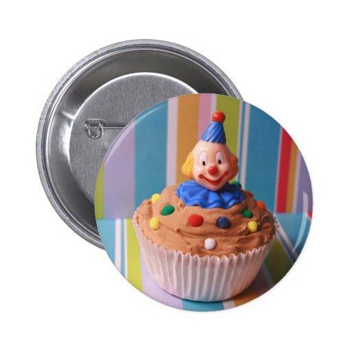 Retro Clown Cupcake Pinback Buttons