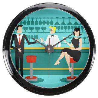 Retro Cocktail Lounge Aqua Clock