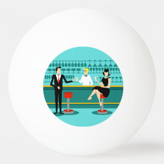 Retro Cocktail Lounge Ping Pong Ball