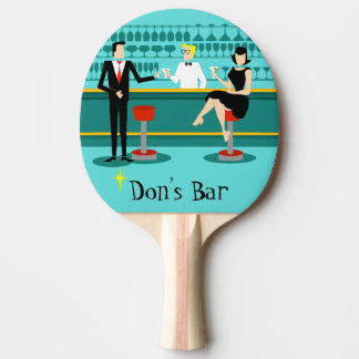 Retro Cocktail Lounge Ping Pong Paddle