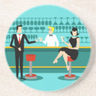 Retro Cocktail Lounge Sandstone Drink Coaster
