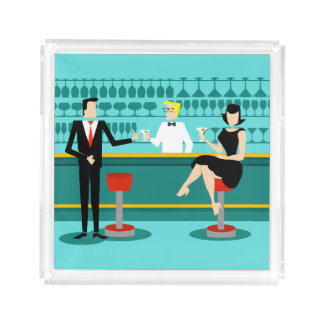 Retro Cocktail Lounge Serving Tray