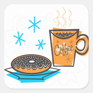 Retro Coffee and Doughnut Square Sticker