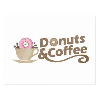 Retro Coffee & Donuts Postcard