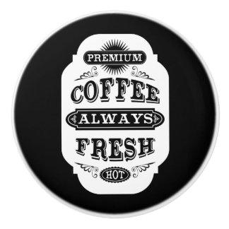 Retro Coffee Label Ceramic Knob