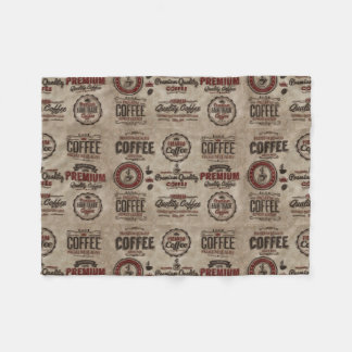 Retro Coffee Labels for Coffee Lovers Fleece Blanket