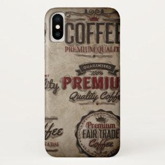 Retro Coffee Labels for Coffee Lovers iPhone X Case