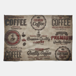 Retro Coffee Labels for Coffee Lovers Kitchen Towel