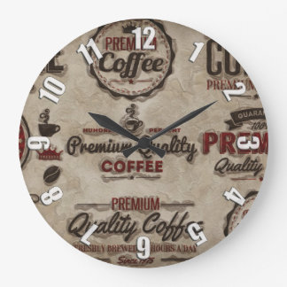 Retro Coffee Labels for Coffee Lovers Large Clock