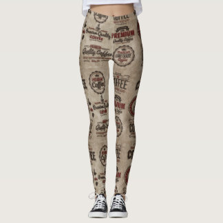 Retro Coffee Labels for Coffee Lovers Leggings