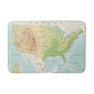Retro Color Map of the World Bath Mat