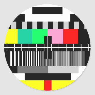 Retro color tv test screen round sticker