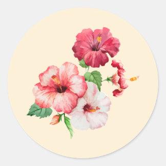 Retro colored hibiscus on creamy pink classic round sticker