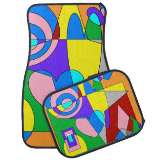 Retro Colorful Abstract Floor Mat