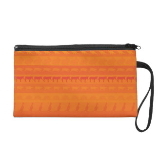 Retro Colorful Animals Modern Stripes Pattern #10 Wristlet