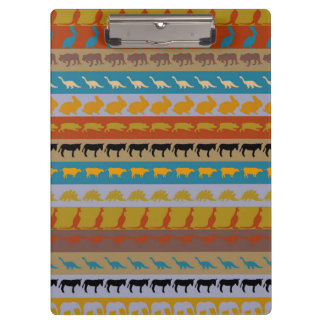 Retro Colorful Animals Modern Stripes Pattern #11 Clipboard