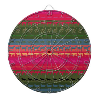 Retro Colorful Animals Modern Stripes Pattern #11 Dartboard