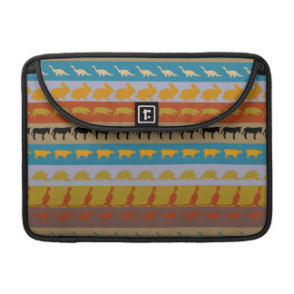 Retro Colorful Animals Modern Stripes Pattern #11 Sleeves For MacBooks