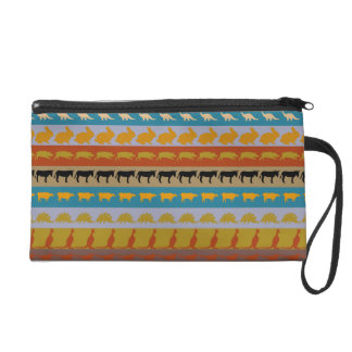 Retro Colorful Animals Modern Stripes Pattern #11 Wristlet