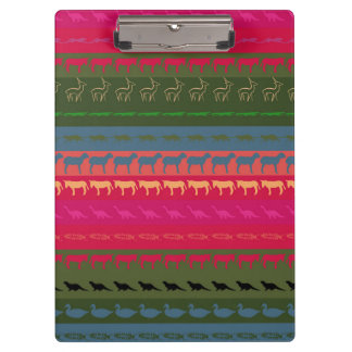 Retro Colorful Animals Modern Stripes Pattern #12 Clipboard