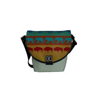 Retro Colorful Animals Modern Stripes Pattern #12 Messenger Bag