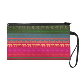 Retro Colorful Animals Modern Stripes Pattern #12 Wristlet