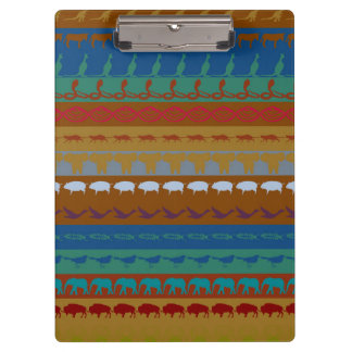 Retro Colorful Animals Modern Stripes Pattern #13 Clipboard