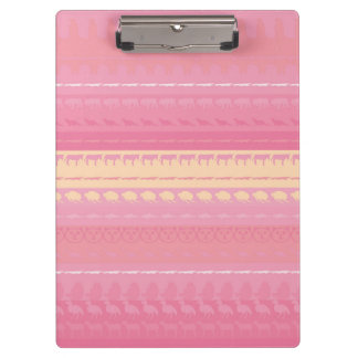 Retro Colorful Animals Modern Stripes Pattern #14 Clipboard