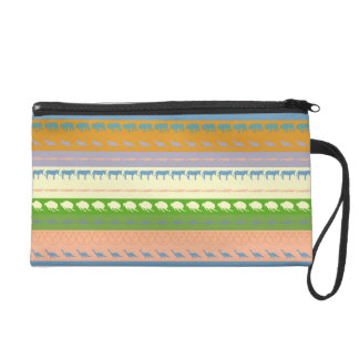 Retro Colorful Animals Modern Stripes Pattern #14 Wristlet