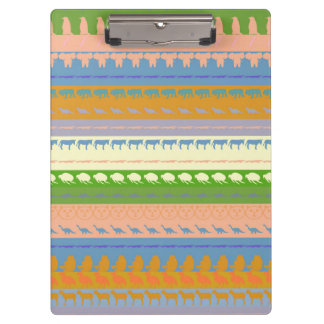 Retro Colorful Animals Modern Stripes Pattern #15 Clipboard