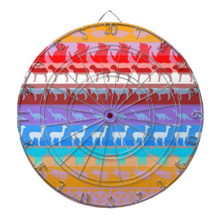 Retro Colorful Animals Modern Stripes Pattern #2 Dartboard