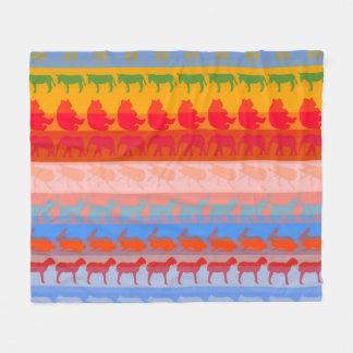 Retro Colorful Animals Modern Stripes Pattern #2 Fleece Blanket