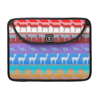 Retro Colorful Animals Modern Stripes Pattern #2 Sleeve For MacBooks