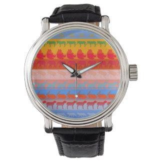 Retro Colorful Animals Modern Stripes Pattern #2 Watch