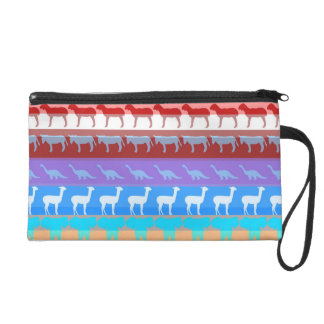 Retro Colorful Animals Modern Stripes Pattern #2 Wristlet