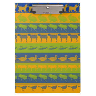 Retro Colorful Animals Modern Stripes Pattern #3 Clipboard