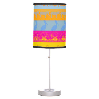 Retro Colorful Animals Modern Stripes Pattern #3 Table Lamp