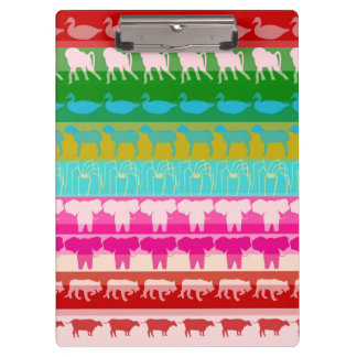 Retro Colorful Animals Modern Stripes Pattern #4 Clipboard