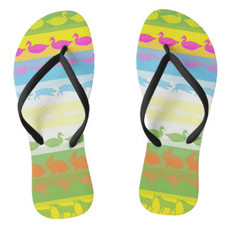 Retro Colorful Animals Modern Stripes Pattern #4 Flip Flops