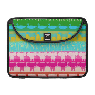 Retro Colorful Animals Modern Stripes Pattern #4 MacBook Pro Sleeve