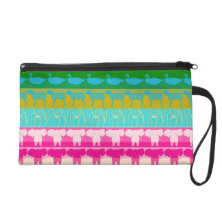 Retro Colorful Animals Modern Stripes Pattern #4 Wristlet