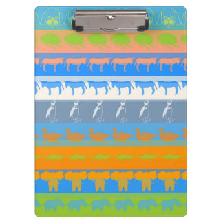 Retro Colorful Animals Modern Stripes Pattern #5 Clipboard