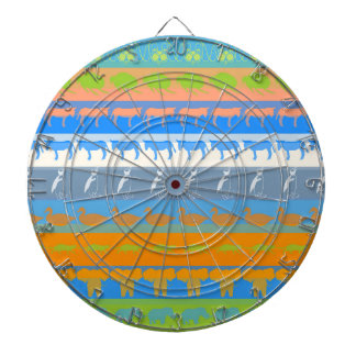 Retro Colorful Animals Modern Stripes Pattern #5 Dartboard