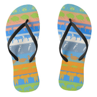 Retro Colorful Animals Modern Stripes Pattern #5 Flip Flops