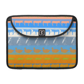 Retro Colorful Animals Modern Stripes Pattern #5 Sleeve For MacBook Pro