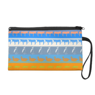Retro Colorful Animals Modern Stripes Pattern #5 Wristlet
