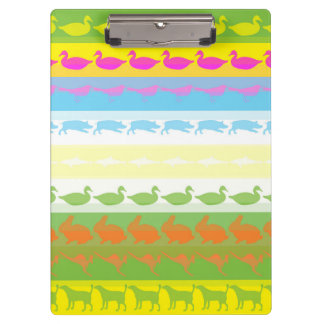 Retro Colorful Animals Modern Stripes Pattern #6 Clipboard