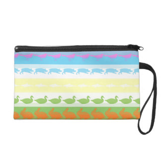 Retro Colorful Animals Modern Stripes Pattern #6 Wristlet